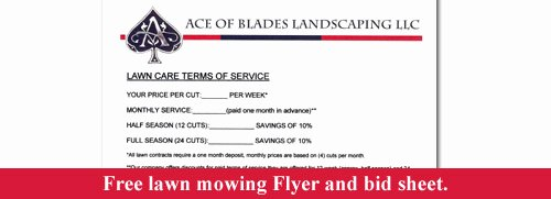 Lawn Care Estimate form Best Of Free Lawn Mowing Flyer and Bid Sheet