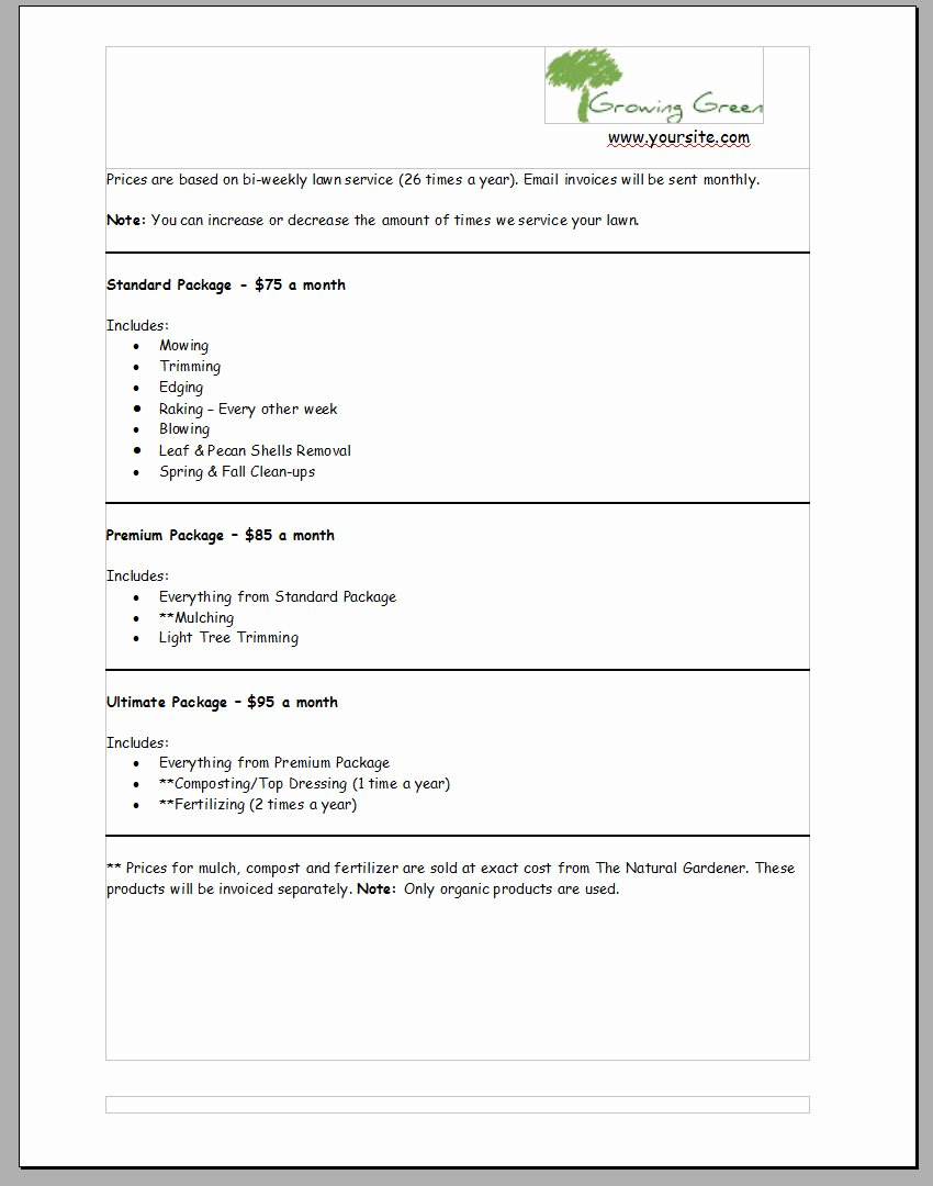 Lawn Care Estimate form New Lawn Care Proposal Template