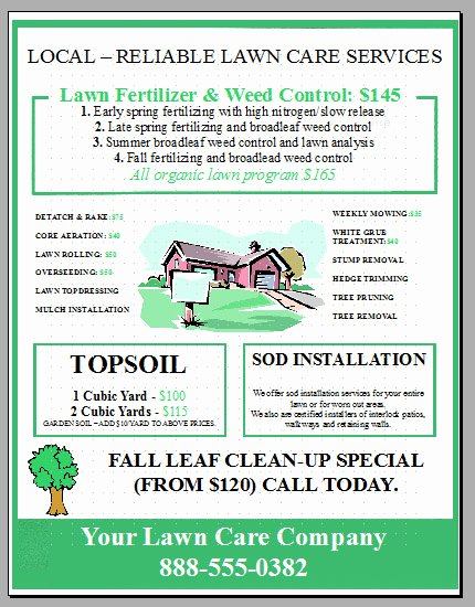 Lawn Care Flyer Ideas Beautiful Full Color Flyers as Promotional Materials for Neighborhood Landscapers