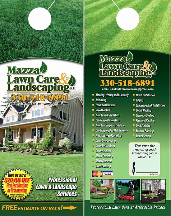 Lawn Care Flyer Ideas Fresh Lawn Care and Landscaping Door Hangers Lawn Care Landscaping Door Hangers