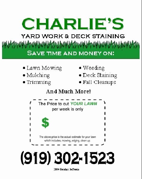 Lawn Care Flyer Ideas New Lawn Care Flyer Free Template