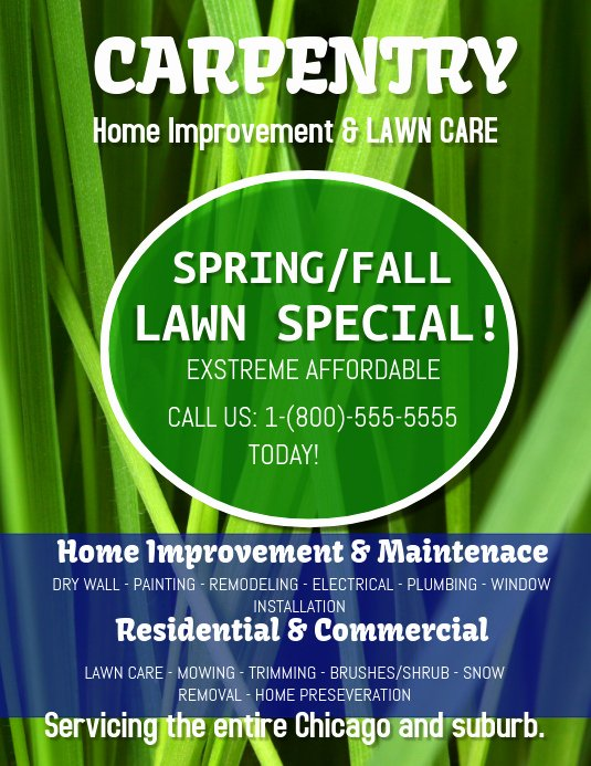 Lawn Care Flyer Template Free Best Of Carpentry and Lawn Care Template