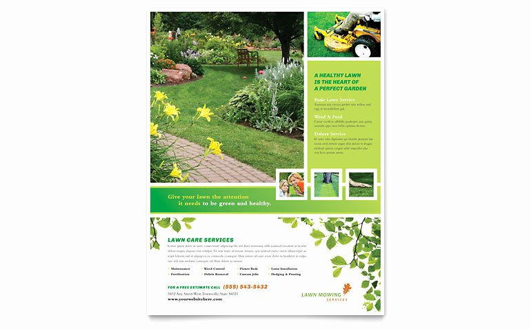 Lawn Care Flyer Template Free Unique Lawn Mowing Service Flyer Template Word & Publisher