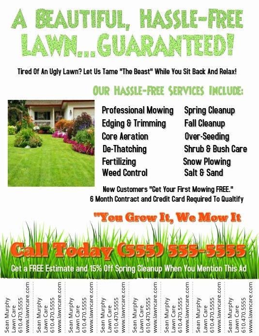 Lawn Care Flyer Template Free Unique Lawn Service Template