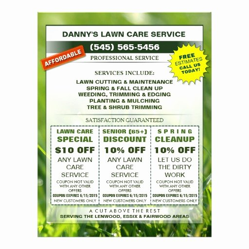 Lawn Care Flyers Template Awesome Lawn Care 8 5 X 11 Coupon Promotion Business Flyer