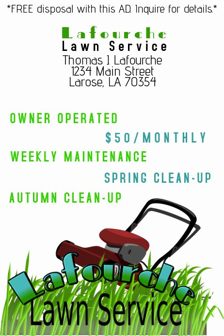 Lawn Care Flyers Template Elegant Lawn Service Ad Template