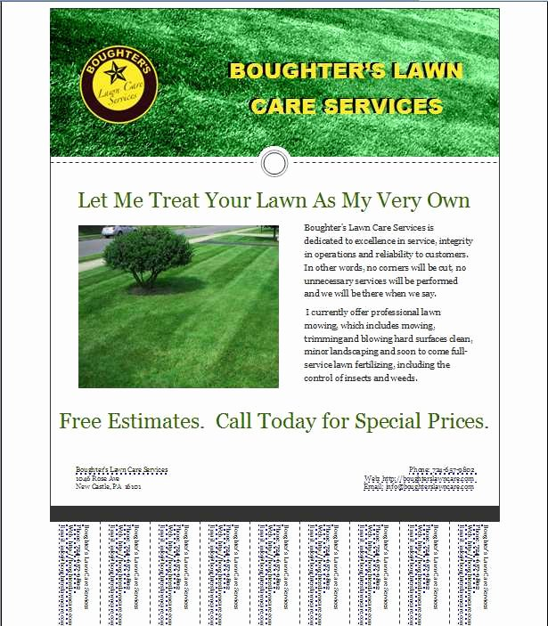 Lawn Care Flyers Template Fresh Mark's Lawn Care Business Flyer