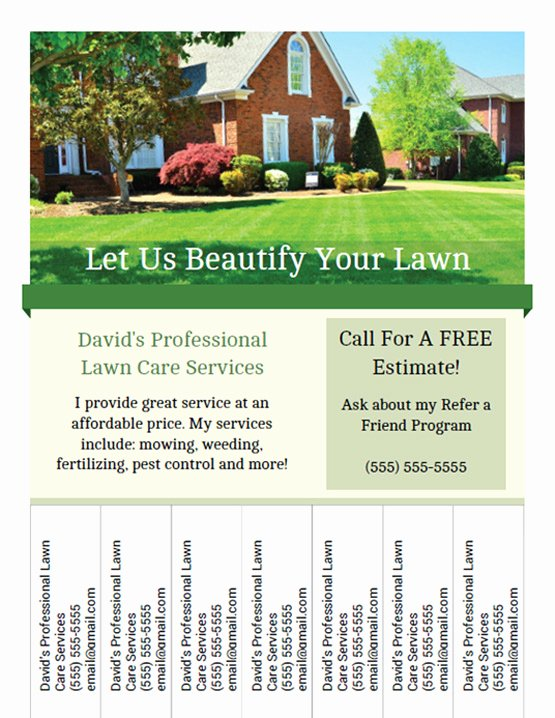 Lawn Care Flyers Template Fresh Printable Lawn Care Business Flyer Templates