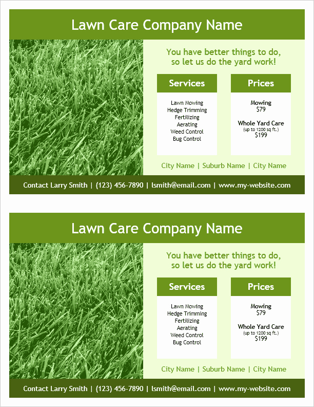 Lawn Care Flyers Template Inspirational Lawn Care Flyer Template 2 Per Page by Vertex42 Flyers Programs Invitations