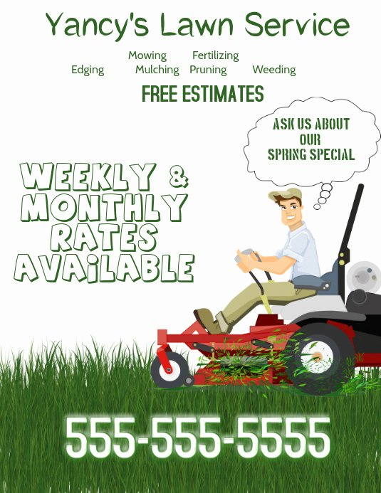 Lawn Care Flyers Template Inspirational Lawn Service Flyer Template
