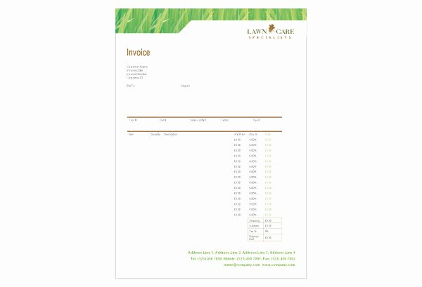 Lawn Care Invoice Template Best Of Lawn Care Invoice Template