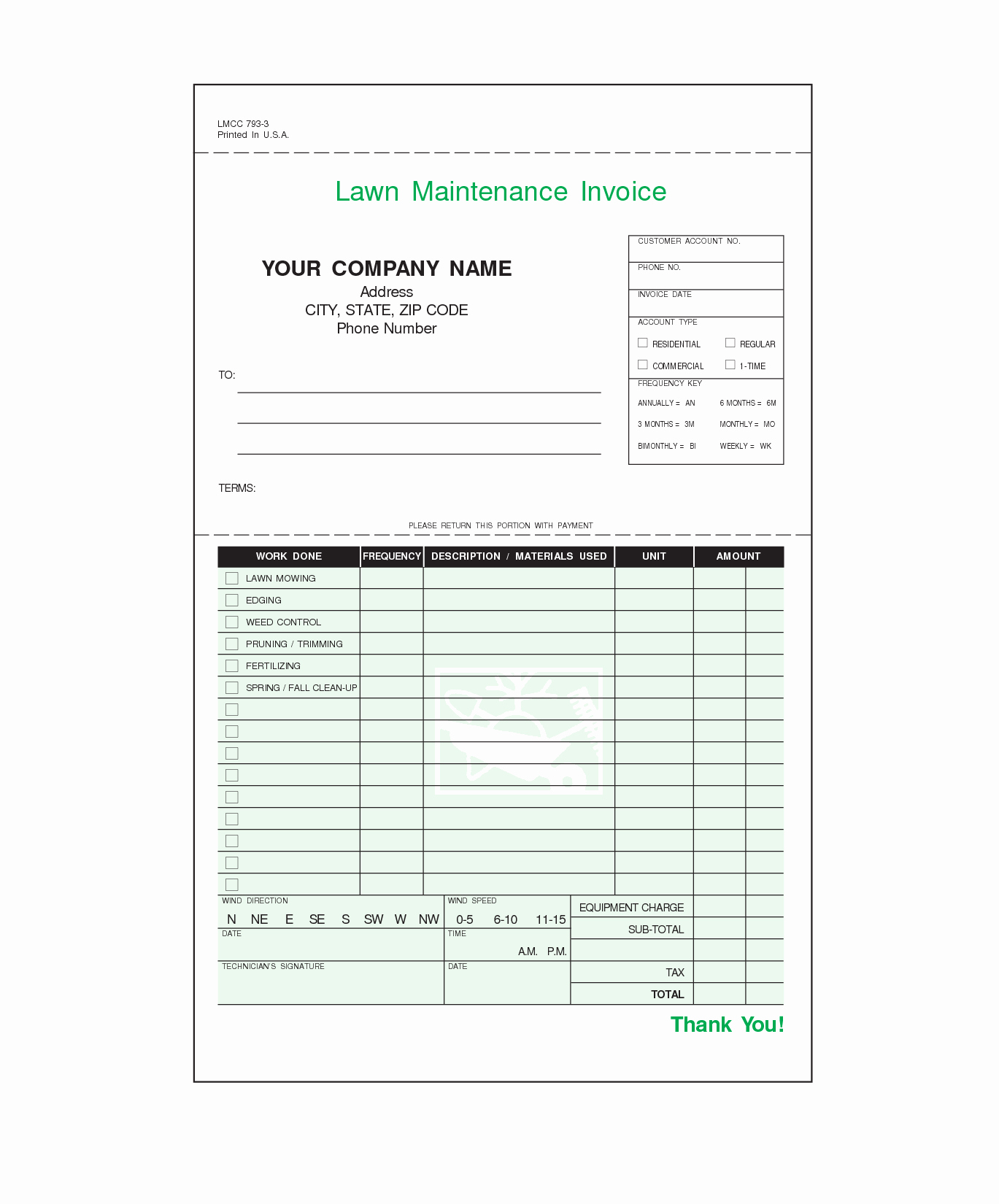 Lawn Care Invoice Template Elegant Lawn Care Invoice Template