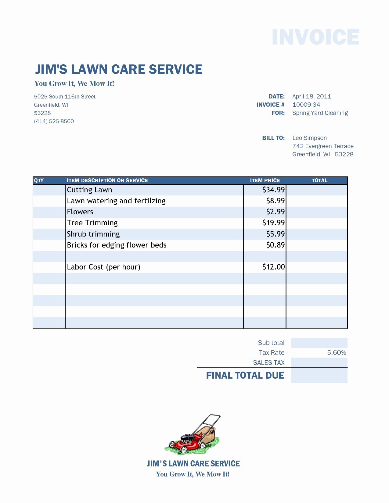 Lawn Care Invoice Template Fresh Lawn Care Invoice Template