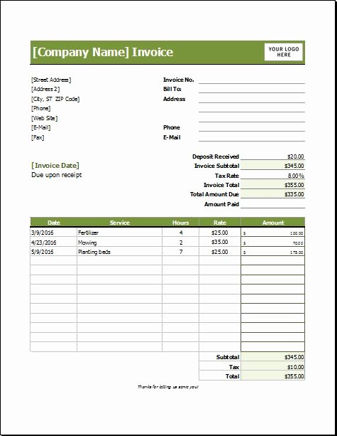 Lawn Care Invoice Template New 39 Best Images About Microsoft Excel Invoices On Pinterest