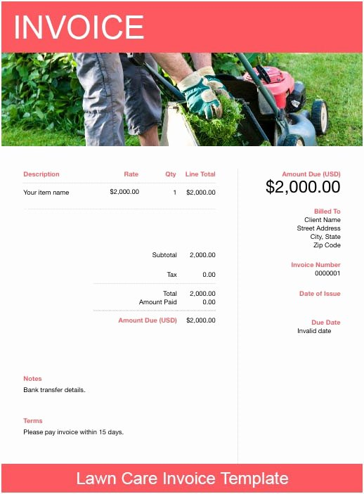 Lawn Care Invoice Template New Lawn Care Invoice Template Free Download