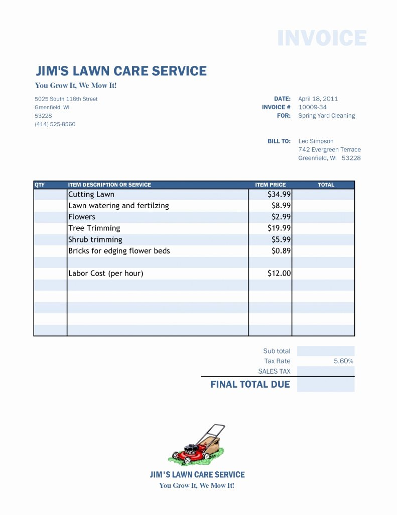 Lawn Care Invoice Template New Lawn Care Invoice Template Word