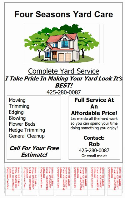 Lawn Care Service Flyers Fresh Lawn Care Flyers