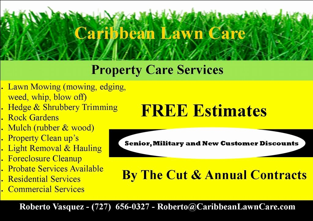 Lawn Care Service Flyers New Carib Flyer 2 From Caribbean Lawn Care In Clearwater Fl