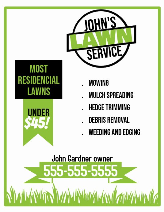 Lawn Care Service Flyers New Lawn Service Flyer Template