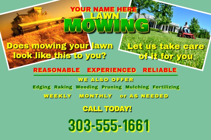 Lawn Mower Flyer Template Beautiful Copy Of Lawn Mowing