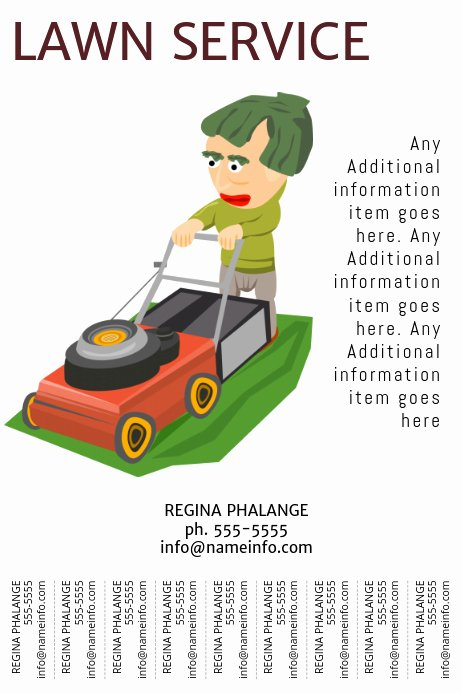 Lawn Mower Flyer Template Fresh Lawn Service Flyer Template with Tear Off Tabs