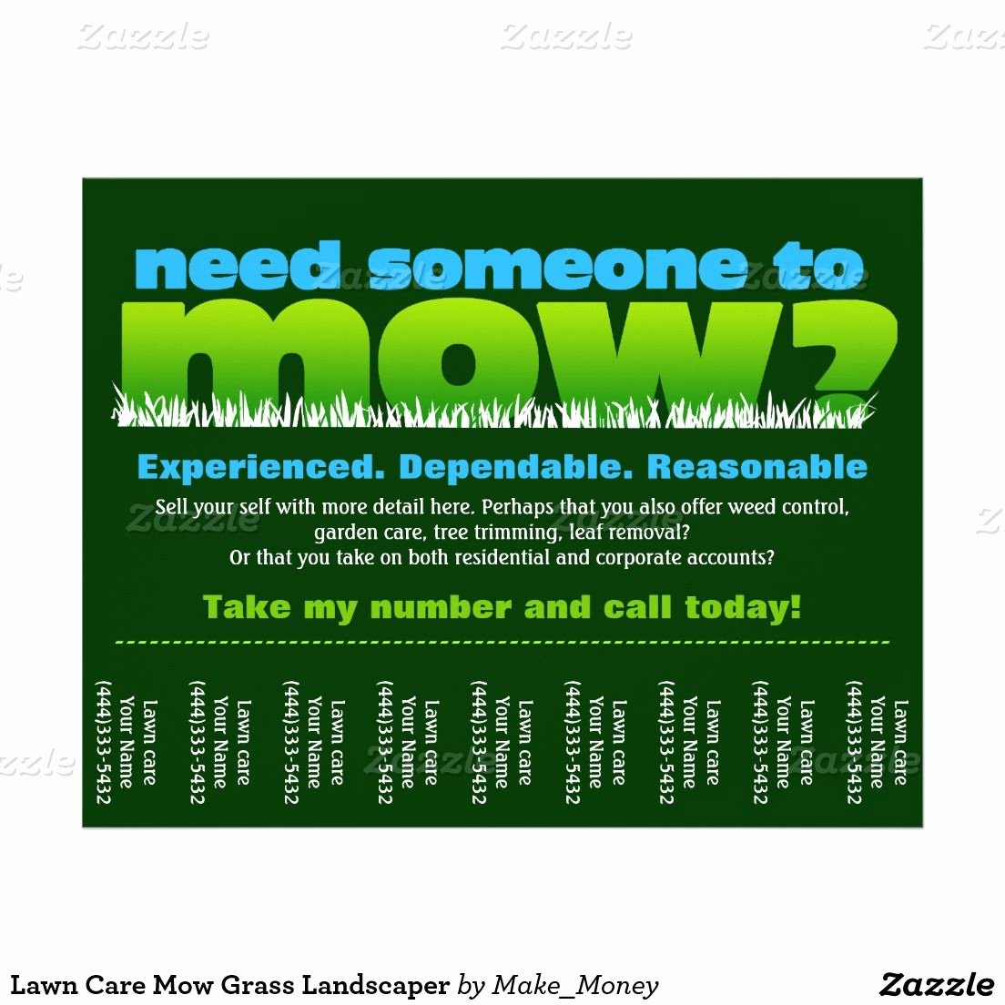 Lawn Mower Flyers Templates Awesome Lawn Care Mow Grass Landscaper Flyer Zazzle