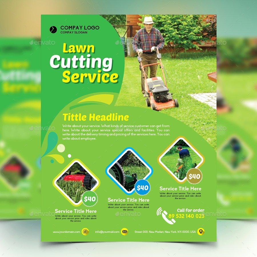 Lawn Mower Flyers Templates New Gardener Mowing Lawn Mower Flyer by Design Station