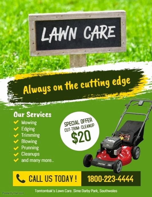Lawn Mowing Flyer Template New Customizable Design Templates for Lawn Maintenance Postermywall Lawn