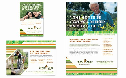 Lawn Care Mowing Brochure Template Design GB