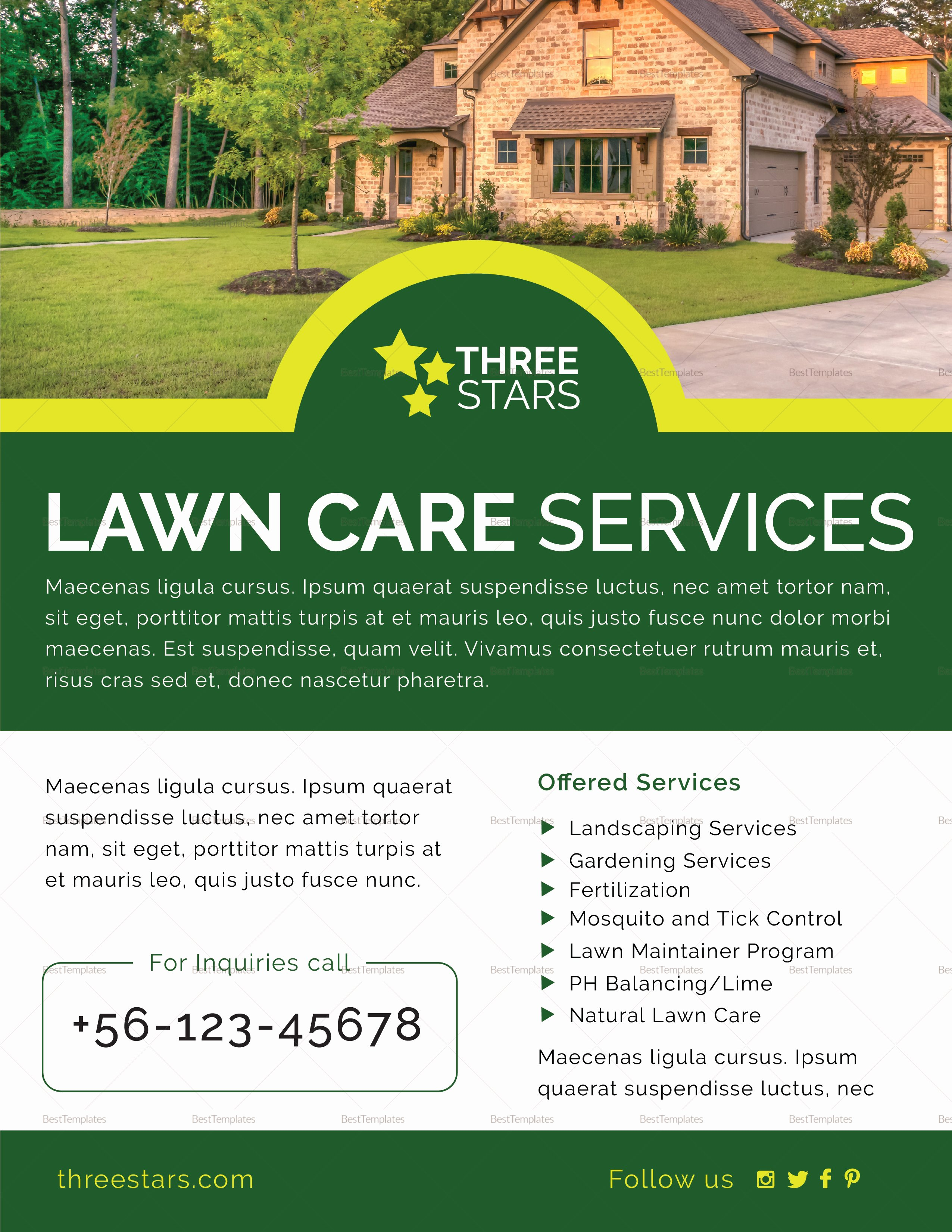 Lawn Mowing Flyer Templates Fresh Lawn Care Flyer Design Template In Psd Word Publisher Illustrator Indesign
