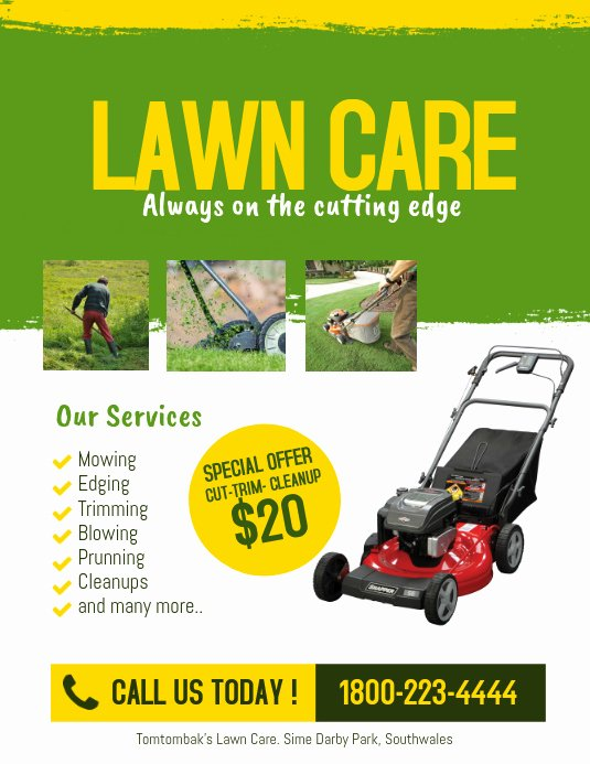 Lawn Mowing Flyer Templates Unique Lawn Care Service Flyer Template
