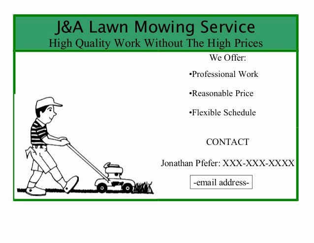 Lawn Mowing Service Flyer Best Of J&a Lawn Mowing Service Flyer