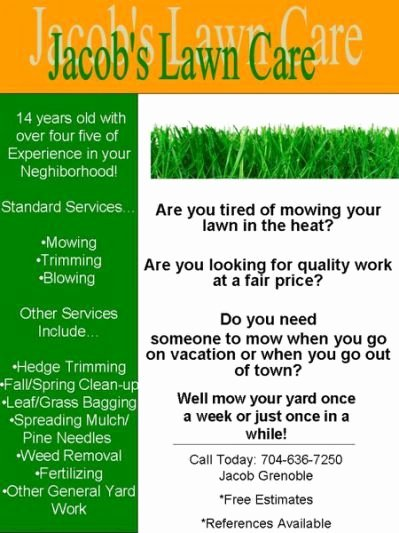 Lawn Mowing Service Flyer Lovely My Lawn Care Flyer What Do You Jye's Board