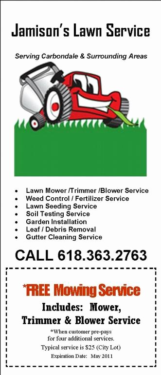 Lawn Mowing Service Flyer Unique Jamison April Flyer 2011 Mower Current From Jamison S Chimney & Lawn Service In Carbondale Il