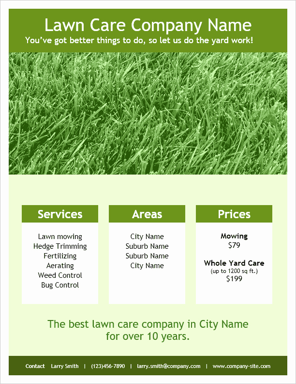 Lawn Service Flyer Ideas Awesome Lawn Care Flyer Template for Word