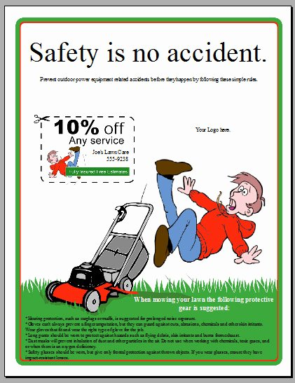 Lawn Service Flyer Ideas Unique Free Lawn Mower Safety Flyer