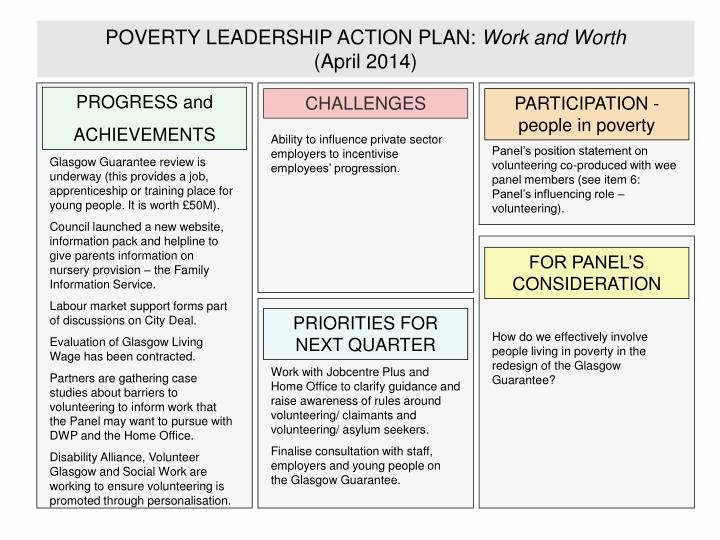 Leadership Action Plan Example Beautiful Ppt Poverty Leadership Action Plan Work and Worth April 2014 Powerpoint Presentation Id