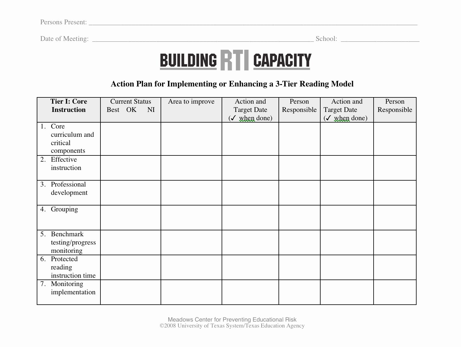 Leadership Action Plan Example Best Of 3 Tier Reading Model Action Plan