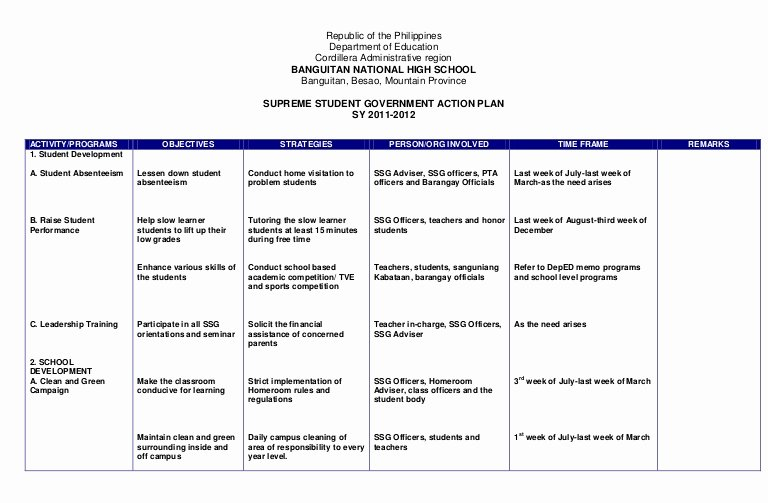 Leadership Action Plan Example Inspirational Action Plan Ssg