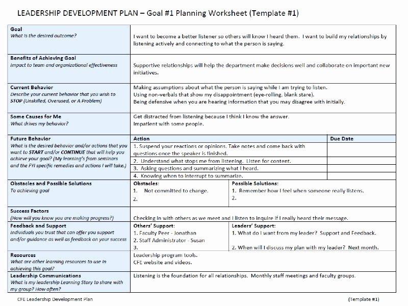 Leadership Action Plan Example Inspirational Sample Leadership Development Plan