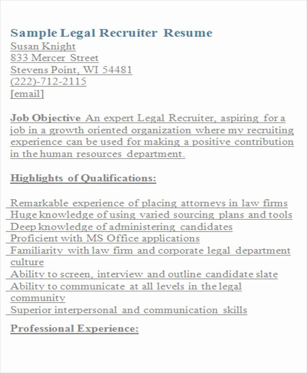 Legal Resume Template Word Elegant Legal Resumes 7 Free Word Pdf format Download