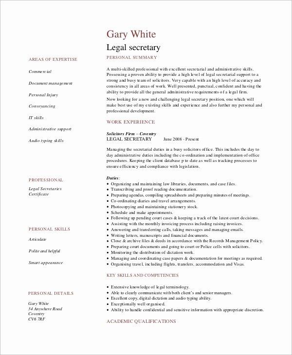 Legal Resume Template Word Elegant Sample Secretary Resume 9 Examples In Word Pdf