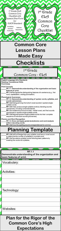 Lesson Plan Template Common Core Elegant 1st Grade Ela Mon Core Checklist Lesson Planning form Green Chevron