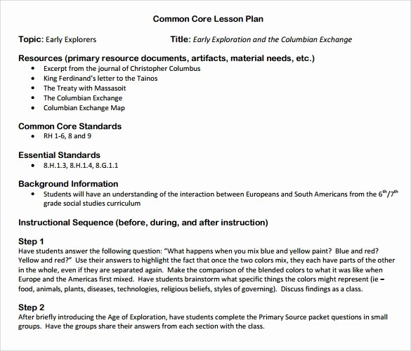 Lesson Plan Template Common Core Fresh Sammple Mon Core Lesson Plan – 9 Example format