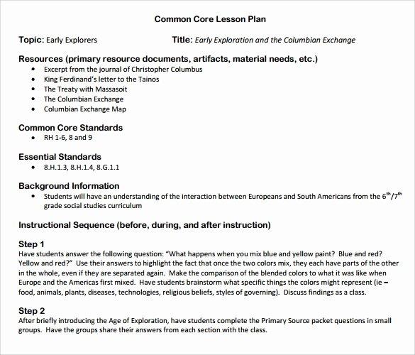Lesson Plan Template Common Core Fresh Sammple Mon Core Lesson Plan – 9 Example format