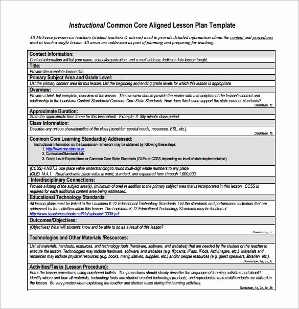 Lesson Plan Template Common Core Inspirational Mon Core Aligned Lesson Plan Template
