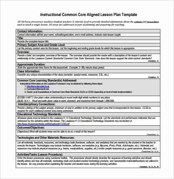 Lesson Plan Template Common Core Inspirational Mon Core Aligned Lesson Plan Template