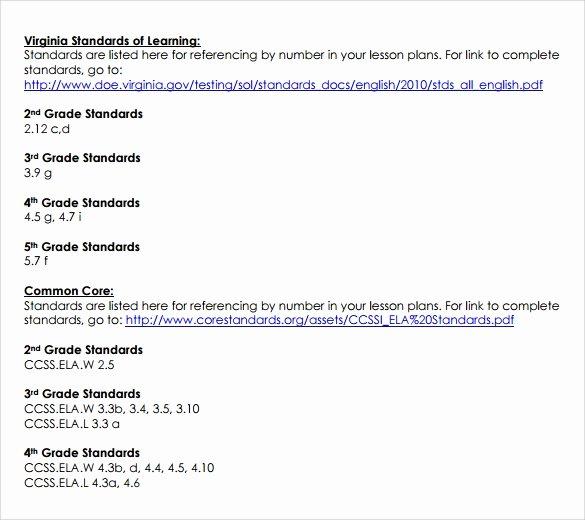 Lesson Plan Template Common Core Inspirational Sammple Mon Core Lesson Plan – 9 Example format