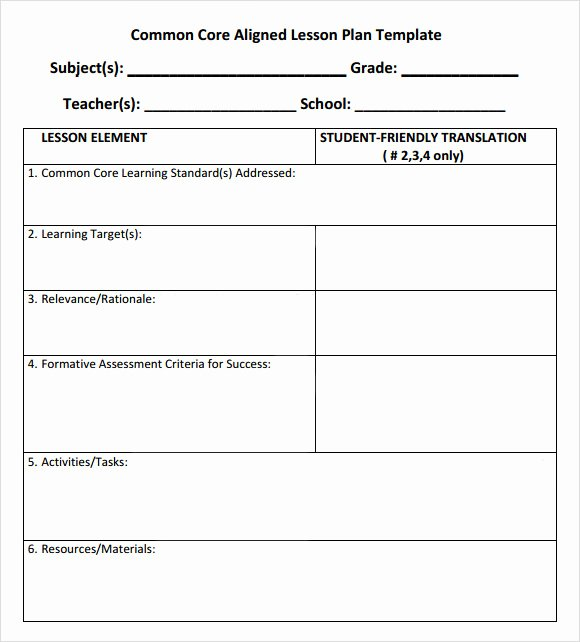 Lesson Plan Template Common Core New Free 7 Sample Mon Core Lesson Plan Templates In Google Docs Ms Word Pages