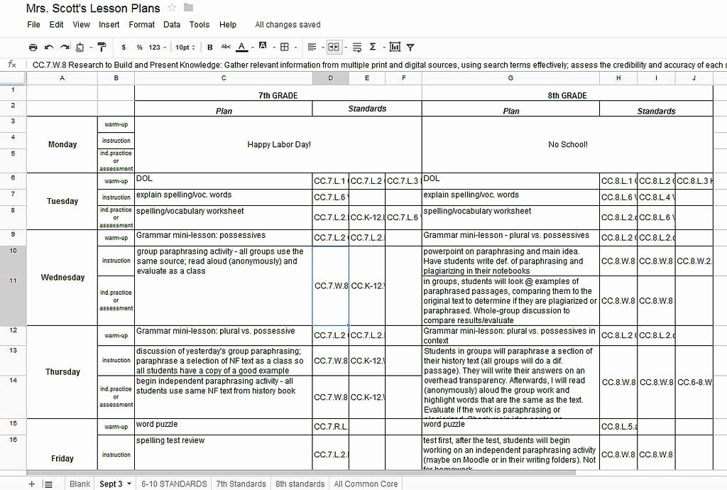 Lesson Plan Template Common Core Unique Using Google Docs for Lesson Plans and Labeling the Mon Core State Standards